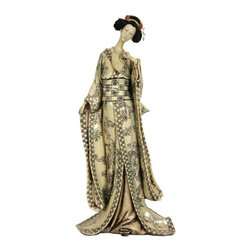 """Oriental Unlimited - 18 in. Tall Geisha Figurine w Bamboo Tree Kim - This lovely faux whale bone figurine is part of a unique collection of twelve beautifully rendered reproductions of Japanese Geisha carvings. Her hair and pins are hand painted, cast in one of the classic """"shimada"""" hairstyles. Delightful netsuke style reproduction whale bone scrimshaw carving. Traditional """"shimada"""" chignon hair bun; authentic """"ogi"""" hair accessories. Wonderfully detailed kimono and obi, with huge hand carved sleeve openings. A lovely, serene face, with remote, inscrutable beauty. From a selection of fine reproduction Asian style statues, figurines and carvings. A simple, thoughtful and unique gift idea for her, for any occasion. Crafted from excellent quality heavy ivory colored resin. 7 in. W x 5 in. D x 18 in. HGeishas are sometimes thought of in the West as courtesans; a common misunderstanding of this uniquely Japanese institution. The geisha are said to have provided feminine warmth and companionship, conversation and service, rather than physical affection. Our Geisha figurines are crafted to capture some of that exceptional grace, beauty and charm, in your living room, bedroom or studio."""
