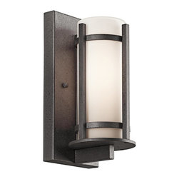BUILDER - BUILDER Camden Lodge/Country/Rustic/Garden Outdoor Wall Sconce X-IVA91194 - A unique blend of modern and rustic details give an updated look to this Kichler Lighting outdoor wall sconce. From the Camden Collection, the cylindrical opal etched glass shade is accentuated by the clean lines finished in a contrasting Anvil Iron finish for a modern and stylish look.
