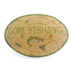"Stupell Industries - Gone Fishing Beach Plaque Bath Plaque - Decorative and fuctional. Made in USA. MDF Fiberboard. Original Stupell art. Approx. 11 in. W x 15 in. L. 0.5 in. Thick""The Stupell Home decor Collection"" is offering up a little something for your lovely beach house.  Depending on what""s your flavor, any one of these plaques will add instant character to the beach house.  These prints, rarely offered on the web, are from southern artist Jane Farrimond Keltner (or another Stupell commission artist).  The lithographs are laminated on 1/2"""" mdf fiberboard and hand finished with cove boarders and hand painted sides.  They feature a saw tooth hanger (or grosgrain ribbon) on the back for easy hanging."