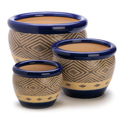 KOOLEKOO - Cobalt Planter Trio - Bright blue ceramic planters show off your greenery with a delicious dose of color! This super value set includes three pots in varied sizes, all with matching abstract motif. Drain hole at bottom of each pot.