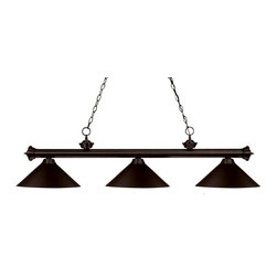 Three Light Bronze Bronze Shade Island Light - Elegant and traditional best describes this beautiful three light fixture. Finished in oil rubbed bronze and paired with metal bronze shades, this three light fixture would be equally at home in the game room, or anywhere else in the house needing a touch of timeless charm. 72 inches of chain per side is included to ensure a perfect hanging height.