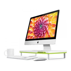 Satechi - Satechi F1 Smart Monitor Stand-Four USB Ports-Headphone/Mic Extensions, White - *Mac and other accessories not included. Stand only for sale.