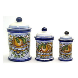 Artistica - Hand Made in Italy - Aranci: Three Pieces Canister Set: Sale, Zucchero, Pepe (Salt, Sugar, Pepper) - Aranci Collection: This item is part of our popular Aranci collection which feature oranges and lemons embellished with arabesque leaves and cobalt blue trim by our Italian painter.