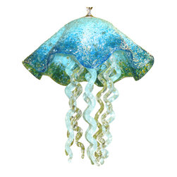 """Primo Glass - Blown Glass Chandelier - Art Glass Chandelier - Lighting - Jellyfish Pendant - Beautiful one of a kind blown glass turquoise & clear jellyfish pendant light handcrafted in the USA by Primo Glass. This is a custom one of a kind """" to be built """" jellyfish light that will have slight differences from the jellyfish light shown in the listing photos, and has a lead time of aprox 3 weeks. The lighting source consists of 1 standard medium base ( 100 watt max ) light socket in the center of the Jellyfish head. It will be shipped with a 60 watt dimmable LED light bulb that will last for 20k hours or longer. It also comes complete with a custom made matching glass ceiling medallion. The glass jellyfish itself measures aprox 12 inches wide x 15 inches tall, and also includes an additional 36 inches of adjustable chain. Primo Glass fixtures are high quality collectible works of functional art, signed by the artists, and come with a certificate of authenticity."""
