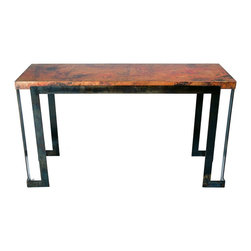 Steel Strap Console Table with Hammered Copper Top by Prima - Dimensions: (length x width x height)
