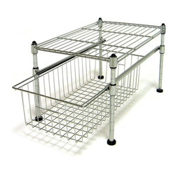 Seville Classics Single Basket Organizer, UltraZinc - Add a shelf and drawer to your kitchen pantry with this basket organizer. Some of my pantry shelves are so tall that it's difficult to fully utilize the space. I think this organizer would come in handy for potato storage with cans on top.