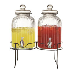 Jay Companies - Springfield Ribbed Glass Beverage Dispensers on Rack - Charming and chic, our high quality set of two glass beverage jugs serve as a wonderful addition to picnics, parties, and are great for hosting large crowds. Our ultra durable double drink dispenser encourages  variety and choice, providing you with worry free indoor and outdoor entertaining. Detailed black stand elevates jugs for an attractive presentation and easy dispensing, and decorative glass lids top the beverage dispensers for a graceful display. Enjoy refilling your cup with some ice cold sangria, raspberry lemonade or mineral water with the flow of its sturdy spout.     * Capacity: 1.38 gallons per jug  * Features a silver plated plastic spout