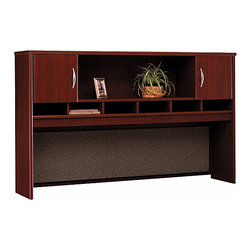 """Bush Business - 72 in. Mahogany Hutch w 2 Cabinets - Series C - The 72 inch Mahogany Hutch with 2 Cabinets mounts on any 72 inch desk or credenza, providing abundant storage and display space!  The hutch features a fabric-covered tackboard and open center shelf, European-style, self-closing, adjustable hinges and optional task lighting. * Mounts on two adjacent Lateral Files. Mounts on any 71"""" wide desk or combination. Includes fabric-covered tackboard. Fully finished back panel. Accepts two task lights (not included). Left and right-side doors and open center shelf. European-style, self-closing, adjustable hinges. 0.984 in. W x 15.354 in. D x 42.992 in. H"""
