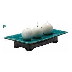 Turquoise Green Long Plate Candleholder - *Pecos Candleholder