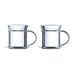Mono - Filio Collection Set of 2 Tea Mugs with Stainless Steel Saucer - Take your morning tea with a heaping spoonful of contemporary style. These glass tea mugs with stainless steel handles and saucers offer simple, stunning sophistication.
