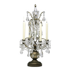 Cyan - Table Candelabrum - Now you can bathe in the flattering candlelight of this exquisitely detailed tabletop fixture. Dripping in fabulous, it's perfect for the dining table, or make Liberace proud and display it front and center on your piano.