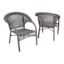 Great Deal Furniture - Malibu Outdoor Grey Wicker Dining Chair (Set of 2) - Enjoy some sun with these sturdy outdoor wicker chairs. These chairs will bring leisure and elegance to your patio, backyard or pool area and their neutral color can be easily matched with almost any decor. The Malibu outdoor wicker chair is the perfect addition to any outdoor space.