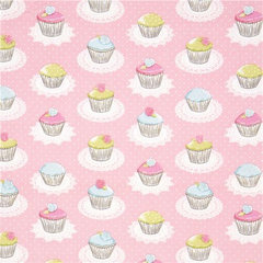 fabric pink Michael Miller fabric with cupcakes dots