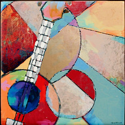 "Tile Art Gallery - Music I Ceramic Accent Tile, 6 in - This is a beautiful sublimation printed ceramic tile entitled ""Music I"" by artist Shirley Novak. The printed tile displays a Ukulele and a colorful abstract background. Pricing starts at just $14.95 for a 4.25 inch tile."