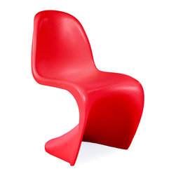 Vertigo Interiors USA - Kids Verner Panton Style 'S' Dining Lounge Playroom Chair, Red - The Kid's Verner Panton style chair is perfect for any children's playroom or dining area.  The chair is constructed from heat molded ABS plastic and is durable, non-toxic, and easy to clean.