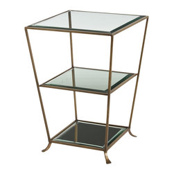 Arteriors - Nick Side Table, Antique Brass - Flip the tassel on your mortarboard. You will graduate style-cum-laude with this striking side table. The frame is finished in either a silvery or brass finish and supports three beveled mirror shelves in graduating sizes for a look that's smart, unique and classically modern.