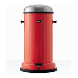VIPP - Rising Red 15 4-Gallon Pedal Bin - Clean up on aisle … everywhere. Wow, this looks like a bomb went off in my kitchen after a party.