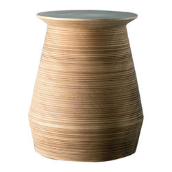 Cobble Hill Microgroove Mango Stool/Side Table - The curves are hand-carved to create this mango wood stool. The feel is smooth and sensuous.