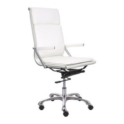 Zuo Modern - Lider Plus High Back Office Chair in White - Leatherette upholstery. Padded back. Ergonomic shape. Soft neoprene arm pads. Chromed steel frame. Five star base with casters. Assembly required. Arm height: 24.50 in.. Seat: 19 in. W x 18.50 in. D x 17.50 in. H. Overall: 22 in. W x 19 in. D x 35 in. H (39.89 lbs.). Warranty. Care Instructions