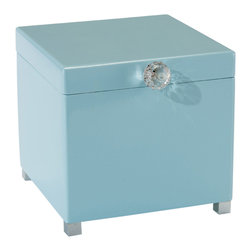 John Richard - John Richard Crystal Knob on Powder Blue Box JRA-9611 - Powder blue lacquer box with a cust crystal knob embellishing the lid.