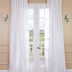 Half Price Drapes - Ice Vintage Textured Faux Dupioni Silk Single Panel Curtain, 50 X 96 - - Bring the crisp and clean Arctic white into your space with Faux Silk Dupioni curtains in Ice. Ice is our truest white, with the a slight sheen that mimics the finest textured Dupioni silk. These curtains bring the look of luxury without the cost or high-maintenance care. Built-in are two header designs within a single panel: attached back tabs for a formal pleated look and traditional pole pockets.   - Single Panel   - 3 Rod Pocket with Back Tab     - Pole Pocket with Back Tabs   - Dry clean   - 100% Polyester Dupioni Fabric   - Lined with a cotton blend material  - 50x96   - Imported   - White Half Price Drapes - PDCH-KBS1-96