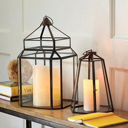 """Ballard Designs - Swedish Cloche Lantern - Also great as terrarium or display case. Crafted of glass & steel. Antique Copper finish. Great with our Remote Controlled Flamelss Wax Candles. Hinged door. Derived from the French word for """"bell,"""" the glass cloche was first used to protect small plants from the cold in winter gardens. Our Swedish Cloche Lantern captures the vintage look and creates a romantic mood when you add your own pillar inside. Swedish Cloche Lantern features: . . . . ."""