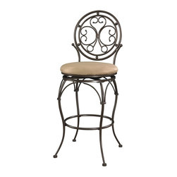 Powell Furniture - Big and Tall Scroll Circle Back Barstool - A scroll design adds elegance to the metal stool. . Extra Wide Seat and Tall Back . Barstool Height.  Bronze Finish. 400 Pound Weight Limit. 19 in. L x 20 in. W x 18.5 in. H (29 lbs.)The Big and Tall Scroll Circle Back Barstool has an elegant design and style. The stool features a warm bronze finish and a plush tan upholstered seat. Designed to suit people large and small, the seat is a generous size for optimal comfort. The tall back features an eyecatching scroll design. Perfectly suited for a kitchen bar or high top table.