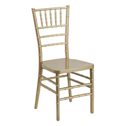 Flash Furniture - Flash Furniture Flash Elegance Gold Resin Stacking Chiavari Chair - If you've been to a wedding, chances are you've sat in a Chiavari chair. Chiavari Chairs have become a classic in the event industry and are also highly popular in high profile entertainment events. This chair is used in all types of elegant events due to its lightweight, stacking capabilities and elegant design. Keep your guests comfortable with optional cushions and keep your chairs beautiful with chair covers.