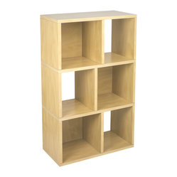 Way Basics - Laguna, Natural - This modern, minimalist bookcase fits anywhere for storage and display. It's light enough to move with your moods, blends with any decor and is strong enough to hang tough when the holding gets heavy. Open-back design for extra convenience, super simple peel-and-stick assembly and formaldehyde- and VOC-free.