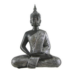 Silver Finished Thai Buddha Altar Statue Buddhism - This beautiful cold cast resin Thai Buddha statue is painted in brown and metallic silver enamels to accent the detail of this stunning piece. The Buddha measures 11 3/4 inches tall, 8 1/2 inches wide and 4 1/4 inches deep. It looks great in living rooms, offices, bedrooms, even in kitchens.