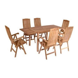 """Anderson Teak - Bahama Double Extension Table w 6 Katana Recliner Armchairs - Dimensions:Table:  59""""/95""""L 36""""W 31""""H. Armchairs: 25""""W 19""""D 42""""H . Includes Bahama rectangular double extension table and 6 Katana recliner armchairs. Table seating capacity: 6 to 10. Table easily extends with unique built-in butterfly pop-up leaves. Slat back and seat design armchairs can adjusts to 5 different positions. Solid Teak wood construction. Perfect for party family and friends gathering. Minimal assembly required. Table: 59 in. - 95 in. L x 36 in. W x 31 in. H (91 lbs.). Recliner:. Overall: 25 in. W x 19 in. D x 42 in. H (25 lbs.). Seat height: 16 in."""