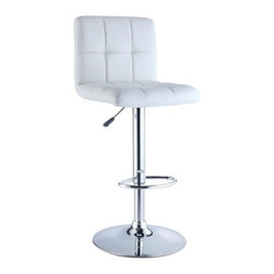 "Powell - Quilted Faux Leather Adjustable Height Bar Stool in White - A stylish, faux leather quilted seat lends itself to the contemporary styling of this white bar stool. Finished with a round sturdy footrest and a gas-lift mechanism for convenient height adjusting, this piece combines function, comfort and style. Features: -White quilted faux leather seat. -Chrome frame. -Unique contemporary design. -Height adjustable seat with gas lift. -BIFMA 5.1 and EN1335 standard testing passed and approved. Dimensions: -Seat height: 24"" - 32"". -37.25"" - 43.38"" H x 17.38"" W x 19.63"" D, 22 lbs. -Weight capacity: 300 lbs."