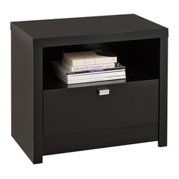 Prepac - Prepac Series 9 Designer 1-Drawer Nightstand in Black - Prepac - Nightstands - BDNR05101 - The Prepac Series 9 Designer Collection Black 1 Drawer Nightstand draws your eye with its bold thick tops and sides and is the perfect choice for your modern bedroom. This nightstand is a perfect blend of functionality and good looks. The open shelf is ideal for items you want to be handy while a generously sized drawer is perfect for out-of-sight storage.