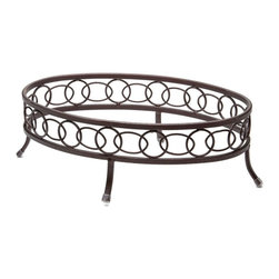 EGS - Brown 14 1/2 x 9 1/2 x 5 H Oval Metal Plate Stand/Case of 6 - Descriptions: For the best look of the day display your favorite fare with the lovely Plate Stands collection. Atop each stand dishes gain elevation and importance