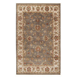Surya - Surya Estate EST-10566 (Gray, Beige) 8' x 11' Rug - Elegantly designed rugs to adorn the most beautiful of homes. The hand spun wool, with a hard twist give a casual yet sophisticated look to these classically designed rugs. The herbal washing of the wool gives the colors an antiqued effect. Hand knotted of 100% New Zealand Wool, these heirloom quality rugs will be admired for years.