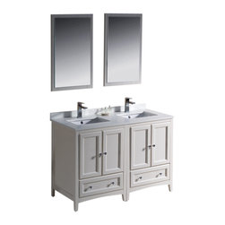 """Fresca - Oxford 48"""" White Double Sink Vanity Cascata Brushed Nickel Faucet - Blending clean lines with classic wood, the Fresca Oxford Traditional Bathroom Vanity is a must-have for modern and traditional bathrooms alike.  The vanity frame itself features solid wood in a stunning antique white finish that?s sure to stand out in any bathroom and match all interiors.   Available in many different finishes and configurations."""