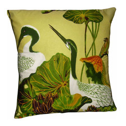 "Mid Century Home USA - Hawaiian Tropical Pillow Cover Barkcloth Geese Retro Mid Century Modern Vintage - This pillow cover was freshly made using a very unique 40's barkcloth fabric from Hawaii.  The design is ""Hawaiian Geese Nene"".  The Hawaiian goose or ""Nene"" is Hawaii's state bird.  This playfull lilly pond scene has beautiful geese and colorful birds on a finey woven soft butter yellow background.  Other colors include deep and light green, red & gold.   The fabric was unused and is very nice.  The back of the pillow is black duck cloth canvas with an envelope closure.  The seams are professionally serged to prevent fraying. The pillow insert is NOT included. The pillow is 17"" X 17"" , use an 18"" pillow insert to ensure a plump pillow."