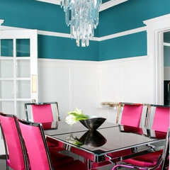 Home Decor Inspiration / Pink chairs, mirrored table, teal walls...glam and fun!