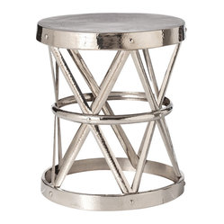 Arteriors - Costello Side Table, Polished Nickel By Arteriors - Industrial élan meets shimmery elegance in this versatile accent piece. Use it as a side table or stool — its iron construction is durable enough to take on any task, and the variety of finishes will fit any setting.