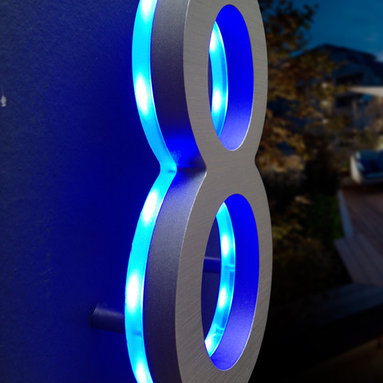 "Luxello - LED House Numbers Signage, Apartment Number Signs - Luxello Illuminated Modern House Numbers in Blue LED. These 5"" inch tall modern numbers and letters are finished in a solid brushed aluminum. The Architectural LED numbers are a versatile building and commercial sign system, suitable for home owners and commercial"