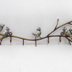 Birds on Twigs Wall Hanger - Our Birds on Twigs Wall Hanger is the attractive way to organize everything from coats to bags and so much more. Featuring cheerful birds frolicking around a horizontal wrought iron twig design with