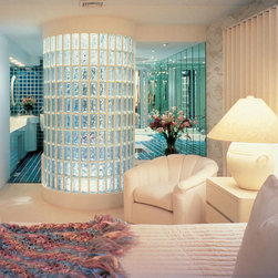 Walk-in Master Bathroom - doorless master bathroom with circular walk-in glass block shower