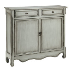 Stein World - Stein World Claridon Cupboard 2 Door 2 Drawer in Vintage Cream - The Classic look of this two (2) door  two (2) drawer cupboard is enhanced with a hand-painted vintage cream finish.