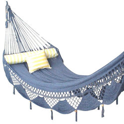 Nicamaka - Nicamaka Couples Hammock - Cirrus (Royal & White Melange) - The Cirrus Blue & White Couples Hammock is made with a mixture of high garment-grade ROYAL BLUE And WHITE imported polyester yarns that yield a soft and restful cloud-like look.