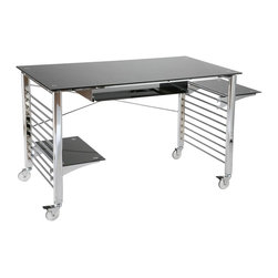 Euro Style - Euro Style Brian Desk on Casters X-20272 - Finish: Black/Chrome.
