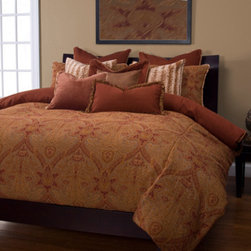 Siscovers - Cambridge Brown and Tan Six Piece Queen Duvet Set - - Set Includes: Duvet - 94x98, Two Queen Shams - 30x20, One Decorative Pillow - 16x16, One Decorative Pillow - 26x14  - Workmanship and materials for the life of the product. SIScovers cannot be responsible for normal fabric wear, sun damage, or damage caused by misuse  - Reversible Duvet and Shams  - Care Instructions: Machine Wash  - Made in USA of Fabric made in China Siscovers - CAMB-XDUQN6