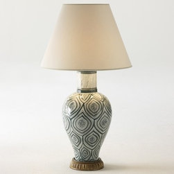 Verdi Lamp - I love this lamp's elegant shape and unexpected pattern. It's an abstract leaf, and it can go Marrakesh, India, Coastal or contemporary minimal.