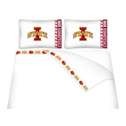 Sports Coverage - Sports Coverage NCAA Iowa State Cyclones Microfiber Sheet Set - Twin - NCAA Iowa State Cyclones Microfiber Sheet Set have an ultra-fine peach weave that is softer and more comfortable than cotton! This Micro Fiber Sheet Set includes one flat sheet, one fitted sheet and a pillow case. Its brushed silk-like embrace provides good insulation and warmth, yet is breathable. It is wrinkle-resistant, stain-resistant, washes beautifully, and dries quickly. The pillowcase only has a white-on-white print and the officially licensed team name and logo printed in team colors. Made from 92 gsm microfiber for extra stability and soothing texture and 11 pocket. Sheet Sets are plain white in color with no team logo. Get your NCAA Sheets Today.   Features:  -  92 gsm Microfiber,   - 100% Polyester,    - Machine wash in cold water with light colors,    -  Use gentle cycle and no bleach,   -  Tumble-dry,   - Do not iron,