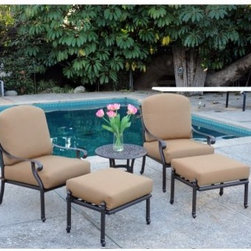 Meadow Decor Kingston 5 Piece Lounge Chat Set - The only thing better that sitting back and relaxing in your own backyard is having a friend there with you and your Meadow Decor Kingston 5 Piece Lounge Chat Set. This comfortable set offers a large comfortable club chair and ottoman for each lounger to rest their feet on. The side table can be placed between these and is just the right size for a couple of drinks, a vase, a music docking station with speakers, or whatever small personal items you'd like to unload. This set boasts soft cushions and deep seats perfect for sinking into for hours while you enjoy a long leisurely chat with your company. Its high quality construction will also have you resting easy, knowing that your set will endure for years to come. Made from fully welded aluminum, the frames are sure to last. And because the cushions are covered in high-quality Sunbrella fabric, they aren't easily susceptible to natural weathering such as fading, cracking, or water damage. Just because their construction is sturdy, however, that doesn't mean they don't have a more delicate appeal. Marrying Old World charm with modern simplicity, the delicate curves of this set introduce intricate detailing to your outdoor decor that will never get old. Each piece is made in the United States, right down to the powder coating and the materials and construction for all cushions.About Meadow DecorMeadow Decor is a leader in the casual and outdoor furniture industry, thanks to its elegant and unique designs, affordable prices, and insistence on premium-quality products and construction. Meadow Decor customers are guaranteed to be served to their full satisfaction; the company's goal is to provide each valued customer with top-quality products, attentive service, and the best possible prices. The combination of ingenious designs and value for money makes Meadow Decor the ideal choice for outdoor living and entertaining.