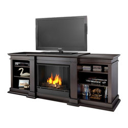 Real Flame - Real Flame Fresno Gel Fireplace - This modern entertainment center fireplace offers all the benefits of a traditional installation with a uniquely contemporary twist. The sturdy construction of this entertainment center makes it suitable for a range of devices and electronics.